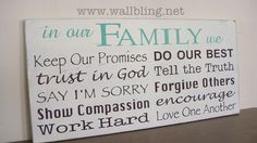 Horizontal  In Our Family We... Family Rules Wood Sign by WallBling