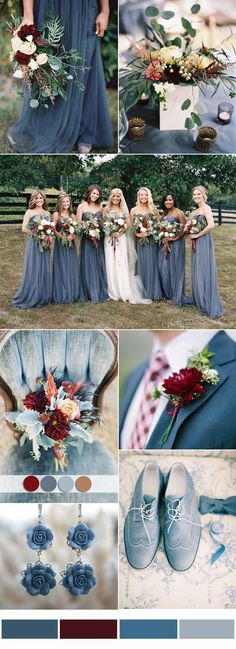 wedding themes dusty blue and burgundy Wedding Color Combo Ideas 2017 Wedding Trends, Wedding 2017, Trendy Wedding, Perfect Wedding, Dream Wedding, Wedding Day, Wedding Blue, Wedding Flowers, Wedding Bouquets
