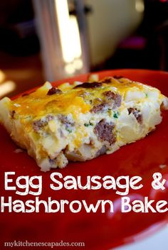 Egg Sausage & Hashbrown Bake - My Kitchen Escapades- put together at night then bake in the morning for an easy, yummy Christmas breakfast
