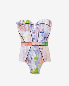Suboo Floral Print Bustier One Piece Swimsuit