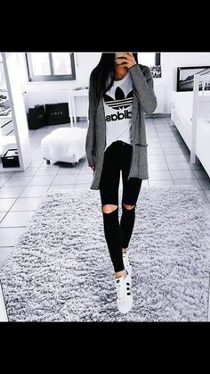 Adidas Outfit Ideas Pictures adidas outfit ideas just trendy girls Adidas Outfit Ideas. Here is Adidas Outfit Ideas Pictures for you. Adidas Outfit Ideas 36 adidas pants outfit ideas super combo of comfort and. Teen Fashion, Fashion Clothes, Fashion Outfits, Fashion Trends, Style Fashion, Fashion Night, Fashion Edgy, Fashion Spring, Fashion Black