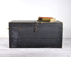 Antique Large Wooden Trunk / Industrial Decor