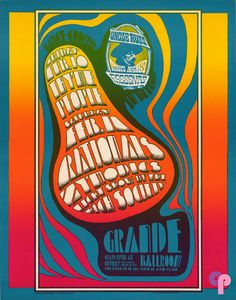 Grande Ballroom 2/10 & 11/67 Artist:  Gary Grimshaw     Performers:  Thyme (2/10)  People  Rationals (2/11)  Zymodics