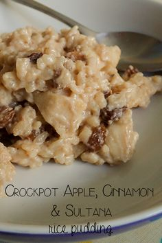Crockpot apple, cinnamon and sultana rice pudding recipe. An ideal comfort food recipe for fall and winter and ideal to cook with kids.