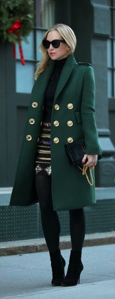 Emerald Green Coat + Black Embellish Skirt + Black Clutch Purse Faux Black Leging  + Black Sweater + High Heel Booties