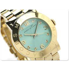 Light blue and minty dial :) Marc Jacobs Womens Watch Bracelet Gold Amy Swarovski Mint Dial W/Box MBM3301 #MarcJacobs #Dress $149.77