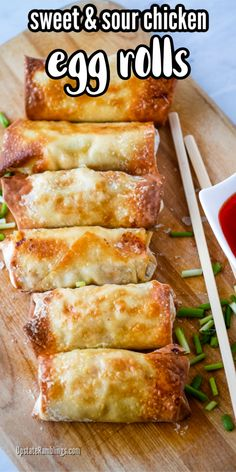 Skip takeout and make egg rolls at home! These sweet & sour chicken egg rolls with sweet & sour chicken rolled up in an egg roll wrapper. Air Fryer Dinner Recipes, Air Fryer Recipes Easy, Appetizer Recipes, Appetizers, Easy Chinese Recipes, Asian Recipes, Healthy Recipes, Homemade Chinese Food, Chicken Egg Rolls