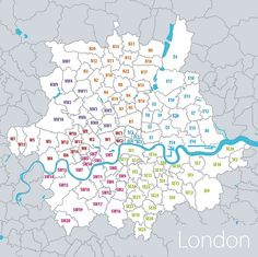 London post codes map to figure out where stuff is