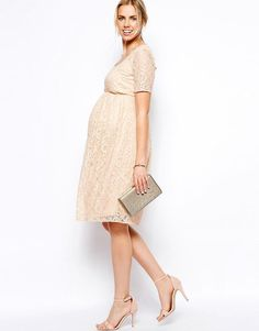 ASOS Maternity | ASOS Maternity Exclusive Lace Midi Dress With Button Back at ASOS