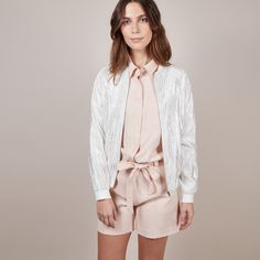 Sparkly white bomber jacket! #frnch #outfit #ootd #streetstyle