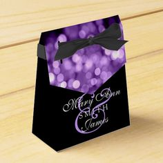 Elegant Wedding Purple Lights Party Favor Boxes