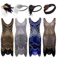 Flapper Costume Gatsby Charleston Fancy Beaded Sequin Fringed Party Dress in Clothing, Shoes, Accessories, Women's Clothing, Dresses Vintage Outfits, Vintage Dresses, Vintage Fashion, 1920s Fashion Gatsby, Edwardian Fashion, 1920s Dress Gatsby, 1920 Outfits, 1920s Fancy Dress, 1920s Fashion Dresses