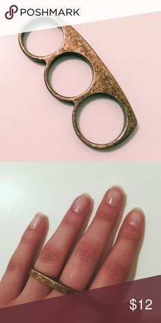 Urban Outfitters 3 Finger Ring NWOT Gold distressed 3 finger ring. Never wore - just not my style 🤷🏻♀️ Make an offer 😊 Urban Outfitters Jewelry Rings