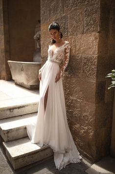 A-Line Wedding Dresses V Neck Sweep / Brush Train Chiffon Lace Long Sleeve Romantic Backless Illusion Sleeve with Beading Appliques Split Front 2020 Modest Wedding Gowns, Cheap Wedding Dresses Online, Lace Wedding Dress With Sleeves, Fit And Flare Wedding Dress, Wedding Dresses Plus Size, Boho Wedding Dress, Bridal Gowns, Gown Wedding, Mermaid Wedding