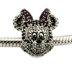 Fits For Pandora Bracelets Sparkling Minnie Portrait Charms With Cubic Zirconia 100% 925 Sterling Silver Beads Free Shipping