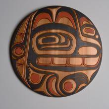 Red cedar and acrylic bear panel by salish artist Jim Charlie