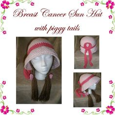 Breast Cancer Sun Hat with Piggy Tails Crochet