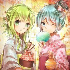 » Vocaloid  » Miku »  and Gumi in kimonos