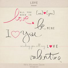 Free Valentine Wordart - Freebies for Scrapbooking