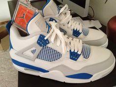 Retro Jordan IV wht/military blue/grey