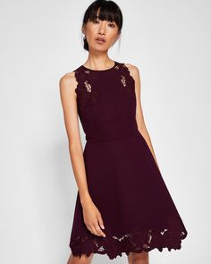 e4649624116d6a Embroidered skater dress - Maroon