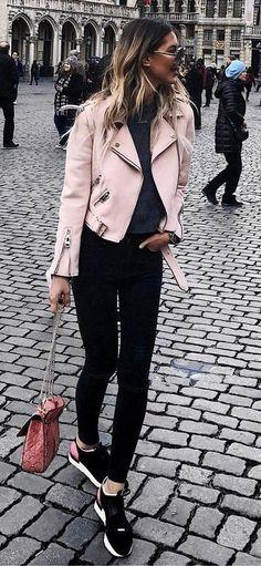 street style addiction / pink moto jacket + top + bag + skinnies + sneakers