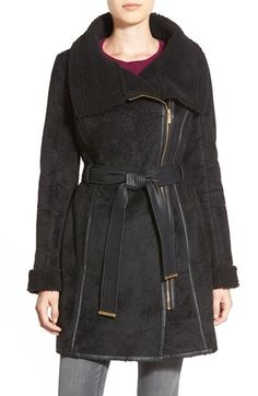 Belle BadgleyMischka 'Joanna' Belted Asymmetrical Faux ShearlingCoat available at #Nordstrom