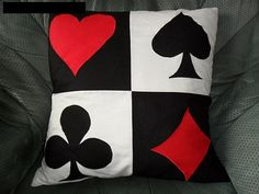 Alice in wonderland card pillows - this would be cute with striped bedding - Gamer House Ideas 2019 - 2020 Alice In Wonderland Bedroom, Alice In Wonderland Party, Disney Bedrooms, Striped Bedding, Game Room, Card Games, Just For You, Throw Pillows, Projects