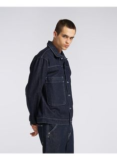 Kolos is tall and is wearing Size L. Cotton Style, Denim, How To Wear, Jackets, Blue, Fashion, Down Jackets, Moda, Fashion Styles