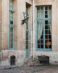 Fabulous French Blue Trim with Limestone and Wonderful Iron Deer Bust in France.