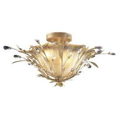 """Semi-flush mount with crystal accents.    Product: Semi-flush mount    Construction Material: Metal and crystal    Color: Gold    Accommodates: (2) 60 Watt medium base incandescent bulbs - not included  Dimensions:  12"""" H x 24"""" Diameter"""