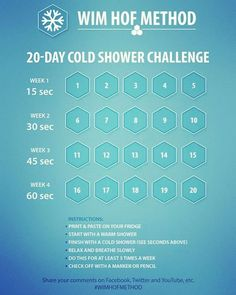 20 day cold shower reboot to start Wim Hof Challenge. 20 day cold shower reboot to start Wim Hof, Health Tips, Health And Wellness, Health Fitness, Wellness Tips, Raynaud's Disease, Sante Bio, Boot Camp, Stress
