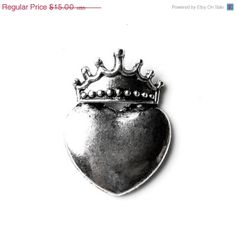 ON SALE Limited Time Only Heart and Crown Lapel Pin by Mancornas, $12.95