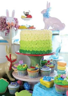 A wonderful green ombre cake for Easter - Belle's Patisserie Easter 2014, Ombre Cake, Green, Desserts, Food, Postres, Deserts, Hoods, Meals