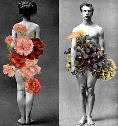 'Adam and Eve' Collage Art Du Collage, Mixed Media Collage, Flower Collage, Collage Artists, Flower Art, Inspiration Art, Art Inspo, Photomontage, Psychedelic Art