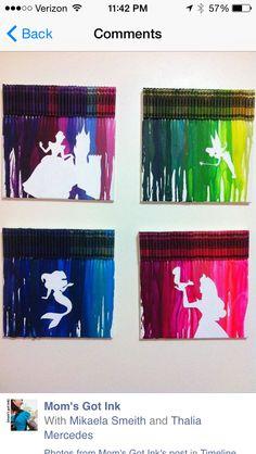 Disney crafts, disney art diy, melted crayon art, melted crayons, crayon ca Art Disney, Disney Kunst, Disney Crafts, Disney Crayon Art, Disney Stuff, Cute Crafts, Crafts To Do, Arts And Crafts, Crafts With Crayons