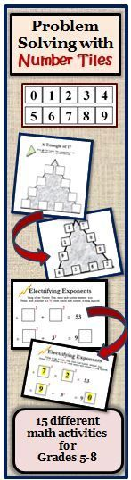 Number Tiles is a 23 page book containing 15 different problem solving activities for grades that range from addition and multiplication, to primes and composites, to exponent problems, to using the divisibility rules. Since the students do not write Printable Puzzles, Printable Numbers, Math Stations, Math Centers, Hands On Activities, Math Activities, Divisibility Rules, Sequencing Worksheets, Problem Solving Activities