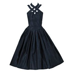 1950's Suzy Perette Black-Silk Ribbon-Weave Full Party Dress | From a collection of rare vintage evening dresses at http://www.1stdibs.com/fashion/clothing/evening-dresses/