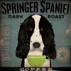 Springer Spaniel Coffee Company original illustration graphic art on canvas 12 x 12 x 1.5 by stephen fowler