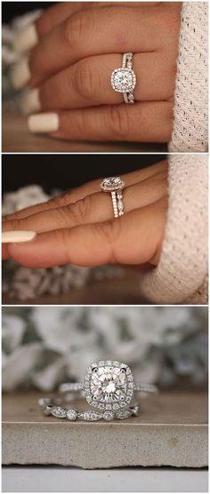 1.20ct Moissanite Engagement Ring, Cushion 7mm Moissanite 14k White Gold and Diamond Ring, Diamond Half Eternity Milgrain Band, Promise Ring #diamonds