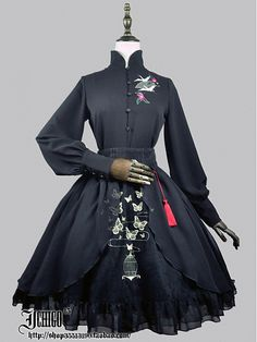 Custom Size Avaiable Qi Style Stand Collar Blouse By Gothic Mode, Gothic Lolita, Lolita Fashion, Gothic Fashion, Lolita Mode, Mode Kawaii, Looks Dark, Fantasy Dress, Kawaii Clothes