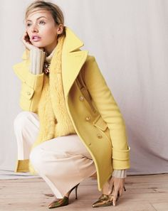 J.Crew women's stadium-cloth majesty peacoat, Collection Italian cashmere chunky turtleneck sweater, Rhodes pant, Collection luxe faux-fur scarf, rainbow crystal necklace and Elsie crackled hologram d'Orsay pumps. To pre-order, call 800 261 7422 or email verypersonalstylist@jcrew.com.