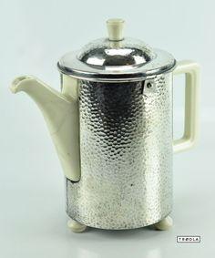 WMF Teekanne Porzellan versilbert Alte Isolierkanne Bauscher DRP teapot silvered