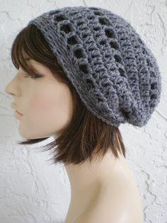 3e567694d6c crochet grey Tam Hat crochet rasta hat grey slouch hat women accessories ~  chic slouch ~ dark grey - made to order. Hat CrochetBeanie ...