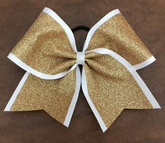 Cheer Bow gold glitter on white by FullBidBows on Etsy