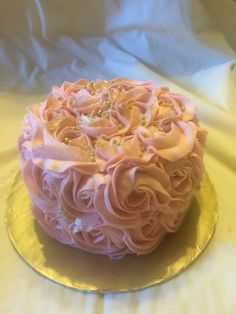 Small 5 inch pink and gold Rosette smash cake by Inphinity Designs
