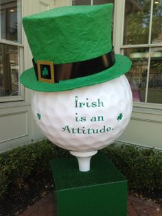 Golf Ball Community Art in celebration of The Presidents Cup! Our theme was Irish is an Attitude of course.