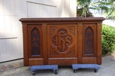 Antique English Carved Tiger oak Communion Table Cabinet GOTHIC Sideboard 1896  #Gothic