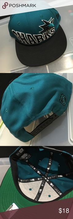 San Jose Sharks new era SnapBack Black & dark teal sharks SnapBack. Worn once. All hats are stored in an air tight container to avoid dust + to be kept clean. New Era Accessories Hats
