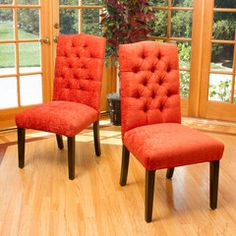 Clark Burnt Red Soft Fabric Dining Chairs (Set of 2)